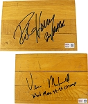 Robert Horry & Vernon Maxwell Autographed Authentic Summit Floor Pieces Combo