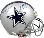 Roger Staubach & Troy Aikman Autographed Dallas Cowboys Full Size Helmet Inscribed HOF