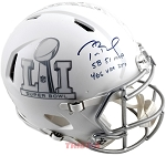 Tom Brady Autographed Super Bowl LI White Ice Helmet Inscribed with Stats