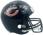 Butkus, Singletary & Urlacher Autographed Chicago Bears Full Size Helmet Inscribed HOF