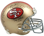 Joe Montana & Dwight Clark Autographed San Francisco 49ers Helmet Inscribed with 'The Catch' Play