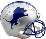 Barry Sanders Autographed Detriot Lions Authentic Helmet - 7 Inscriptions