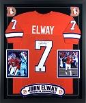John Elway Autographed Denver Broncos Jersey Framed