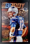 Tom Brady Autographed New England Patriots 24x36 Canvas Giclee Framed
