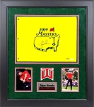 Tiger Woods Autographed 2019 Masters Tournament Pin Flag Framed