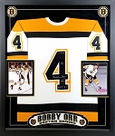 Bobby Orr Autographed Framed Boston Bruins Jersey Inscribed ROY 67