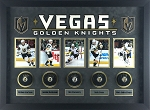 Karlsson, Marchessault, Pacioretty, Stone & Fleury Autographed Golden Knights Pucks Framed