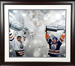 Wayne Gretzky & Mark Messier Autographed Edmonton Oilers 20x24 Photo Framed