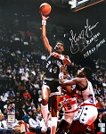 George Gervin Autographed San Antonio Spurs 16x20 Photo Inscribed Iceman, NBA 50, HOF 96