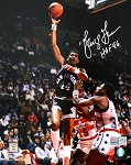 George Gervin Autographed San Antonio Spurs 8x10 Photo Inscribed HOF 96