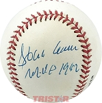 Hank Aaron Autographed Official National League Baseball Inscribed MVP 1957