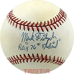 Mark Fidrych Autographed AL Baseball Inscribed ROY 76, 'The Bird'