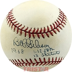 Bob Gibson Autographed Official NL Baseball Inscribed 1968 1.12 ERA 13 Shutouts