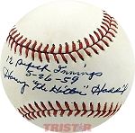 Harvey 'The Kitten' Haddix Autographed NL Baseball Inscribed 12 Perfect Innings 5-26-59