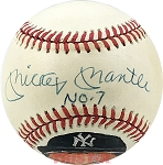 Mickey Mantle Autographed Official AL Baseball Inscribed No. 7 - PSA 9