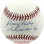 Johnny Pesky Autographed Official AL Baseball Inscribed 6 Runs Scored 5/8/46