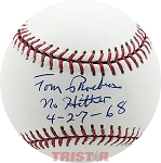Tom Phoebus Autographed Major League Baseball Inscribed No Hitter 4-27-68