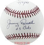 Jimmy Qualls Autographed Baseball Inscribed 69 Cubs, I Broke Up Seavers Perfect Game