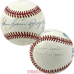 Warren Spahn & Johnny Sain Autographed AL Baseball Inscribed Pray for Rain, Snow
