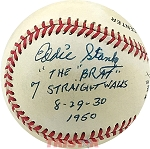Eddie Stanky Autographed NL Baseball Inscribed 'The Brat', 7 Straight Walks 8-29-30 1950