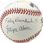 Felipe, Jesus & Matty Alou Autographed Official NL Baseball Inscribed Feliz Navidad