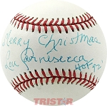 Lou Carnesecca Autographed Official AL Baseball Inscribed Merry Christmas