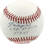 Gil McDouglad Autographed Official AL Baseball Inscribed 6 RBI 9th Inning 5-3-51