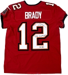 Tom Brady Autographed Tampa Bay Buccaneers Red Nike Elite Jersey Inscribed LV MVP