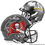 Tom Brady Autographed Tampa Bay Buccaneers SB LV Champs Authentic Speed Full Size Helmet Inscribed LV Champs