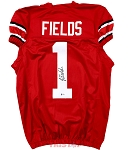 Justin Fields Autographed Ohio State Buckeyes Custom Red Jersey