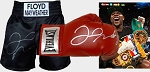 Floyd Mayweather TKO Package - Autographed Trunks, Glove & 16x20
