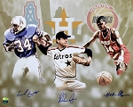 Ryan, Olajuwon & Campbell Autographed Houston Legends 16x20 Photo