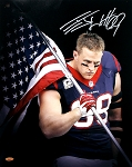 JJ Watt Autographed Houston Texans American Flag 16x20 Photo