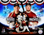 Jeff Bagwell & Craig Biggio Autographed Hall of Fame Collage 8x10 Photo Inscribed