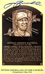 Jeff Bagwell Autographed Hall of Fame Plaque Postcard Inscribed HOF 17