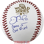 Derek Fisher Autographed 2017 World Series Baseball Inscribed Game 5 GW Run