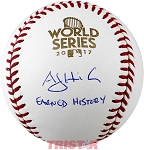 A.J. Hinch Autographed 2017 World Series Baseball Inscribed Earned History