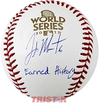 Jake Marisnick Autographed 2017 World Series Baseball Inscribed Earned History