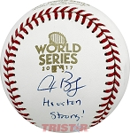 Alex Bregman Autographed 2017 World Series Baseball Inscribed Houston Strong!
