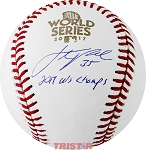 Justin Verlander Autographed 2017 World Series Baseball Inscribed 2017 WS Champs