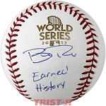 Brad Peacock Autographed 2017 World Series Baseball Inscribed Earned History