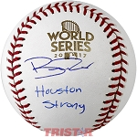 Brad Peacock Autographed 2017 World Series Baseball Inscribed Houston Strong