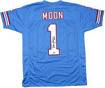 new products 214fd c22f3 Warren Moon Autographed Houston Oilers Stat Custom Jersey HOF 06