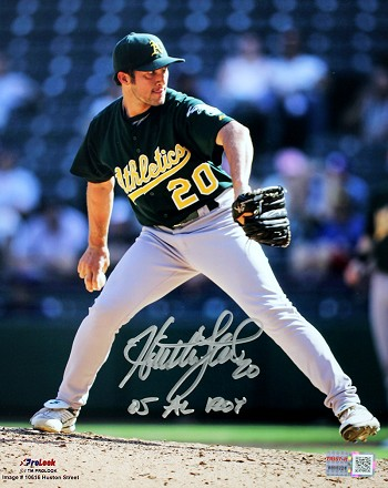 Huston Street Autographed Oakland Athletics 8x10 Photo Inscribed 05 AL ROY