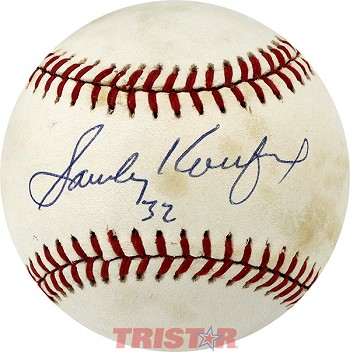 Sandy Koufax Autographed Official National League Baseball Inscribed 32