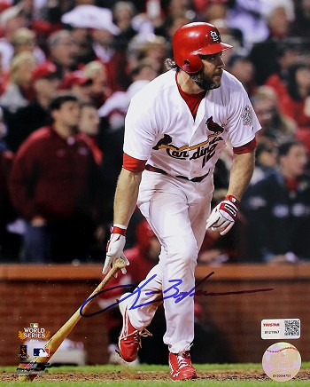 Lance Berkman Autographed 2011 World Series Game 6 8x10 Photo