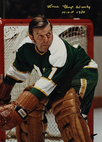Gump Worsley Autographed North Stars 8x10 Photo Inscribed HOF 1980