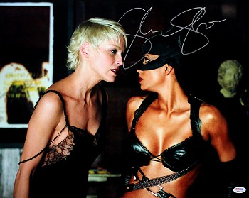 Sharon Stone Autographed Catwoman with Halle Berry 16x20 Photo