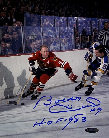 Bobby Hull Autographed Blackhawks vs Blues 8x10 Photo Inscribed HOF 1983