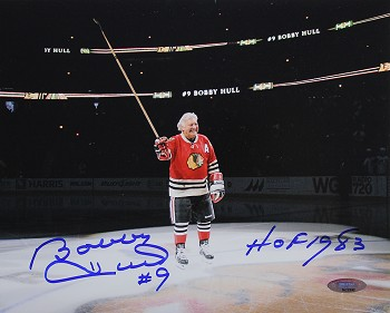 Bobby Hull Autographed Blackhawks Center Ice 8x10 Photo Inscribed HOF 1983